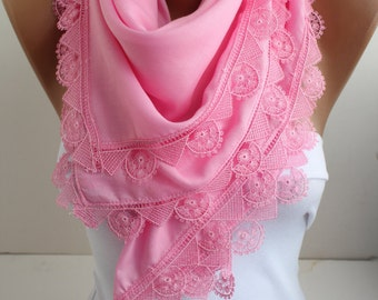 Pink Shawl Scarf Cotton Scarf White Lace Scarf Shawl Scarf Bridal Accessories Bridesmaid Gifts Gift Ideas For Her Women Fashion Accessories