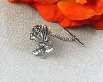 Silver  Rose Leaf  Rose, Tie Tack, Victorian Inspired, Romantic Floral Tie Pin