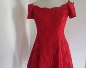 Vintage 80's Red Lace Off Shoulder Fit and Flare Party Dress with Scalloped Neckline M 6 8