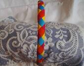 Braided Headband - Rainbow Headband - Pink Orange Blue & Yellow Headband - Wrapped Headband - Diamond Design Headband - Boutique Headband
