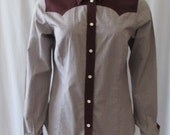 Cowboy Shirt size 40 Made in Sweden Brown pearl snaps