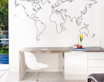 Outlined world map vinyl wall sticker