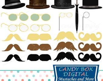 Mustache Clipart, Mens Clip Art with Hats and Glasses- Commercial Use OK