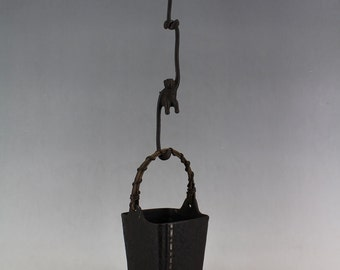 Antique Silver Inlaid Cast Iron Vase with Monkey Hanging Hooks