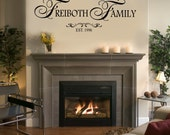 Family name with Established date - Home - FAMILY Wall Decal  - Large Size Options Family quotes Personalized Custom last name