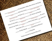 Mad Libs Inspired Vintage Typewriter Wedding RSVP Postcard - Double Sided Respond Card - Old Fashioned Style - Printable DIY