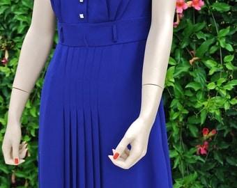 Robbie Bee Royal Blue Chiffon Vintage Dress Size 4