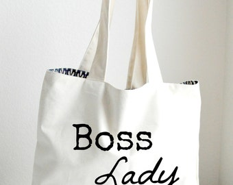 Boss Lady Tote Bag Large, Sturdy, Heavyweight Canvas Grocery Bag / Bride Bag / Tote / Beach / Funny / Canvas