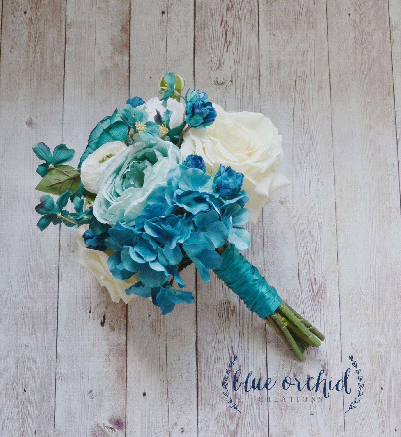 Turquoise Flowers For Wedding: Silk Wedding Bouquet With Blue Turquoise Ranunculus Rose