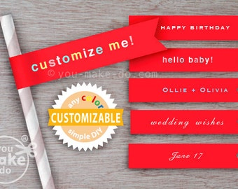 red straws flags red paper straws baby shower decorations birthday customizable straw flags custom straws red birthday decorations 1st bday