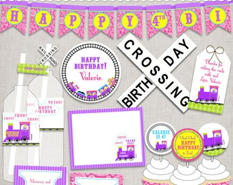 Girl Train Party Printables - PDF files for birthday, christening, baby shower - just print, cut, and decorate