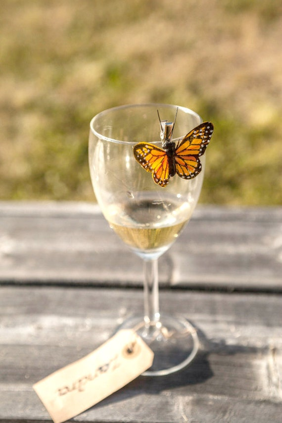 Butterfly Wedding Favor, Orange Monarch Rustic Wine Glass Charm - 10