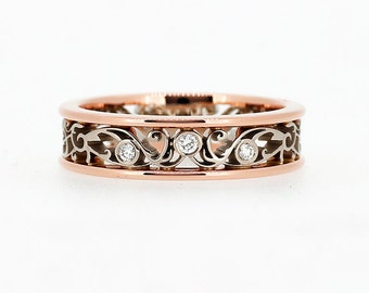 Men's rose and white gold wedding band, Diamond ring, rose gold, men filigree ring, wedding band, men unique ring, for men, two tone
