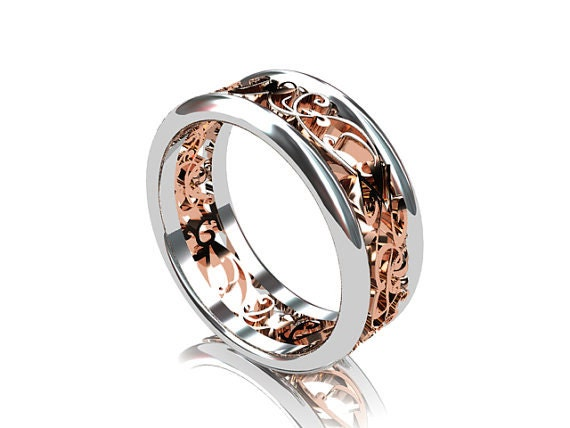 Wide Two Tone Filigree Wedding Band Rose Gold By