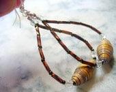 Paper Bead Dangle Earrings, Brown Beaded Dangle Earring, Silver, Long Dangle Earring, Rolled Paper Bead Jewelry, Brown and Gold Earrings