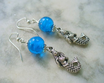 Mermaid Earrings, Caribbean Blue Earrings, Beach Earrings, Beach Jewelry, Silver Mermaid Earrings, Ocean Jewelry, Blue Earrings
