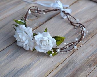 Rose Hair Wreath, Ivory Flower Crown, Bridal Rose Crown, Romantic Bridal Headpiece, Flower Head Wreath, Ivory Rose Hairpiece