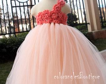 Tutu Flower Girl Dress Peach Coral flower girl dress baby dress toddler birthday dress wedding dress 0-8t