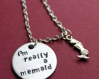 Mermaid Necklace, I'm Really A Mermaid, Mermaid Jewelry, Fantasy, Nautical, Beach, Ocean, Little Mermaid Necklace
