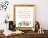 INSTANT DOWNLOAD, Let Us Not Grow Weary, Watercolor Flowers, Scripture Art, Galatians 6:9, Printable, No. 550