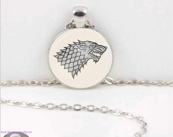 Game of Thrones Sigil Glass Pendant Necklace Stark