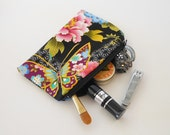 Japanese Coin Purse - Zippered Pouch - Tiny Makeup Bag - Coupon Holder - Asian Fabric - Small Zipper Purse - Little Cosmetic Handbag
