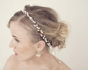 Rustic pearl crown, Bridal tiara, Wedding hair accessories, flower crown, Bridal headpiece, Rustic pearl tiara, Pearl headband