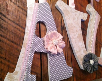 Custom Nursery Letters- Personalized Name-AVA-Grey, pink and cream nursery-Wooden Hanging Letters - Honey Boo Boutique