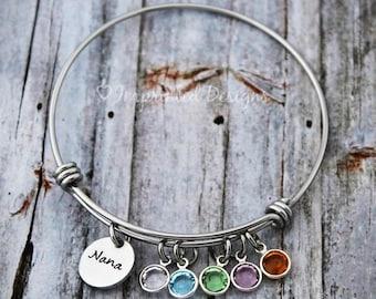 Charm Bracelet - Mother Bracelet - Personalized - Wire Bangle - Grandmother - Adjustable - Birthstone - Mimi-Gigi-Grandma-Hand Stamped