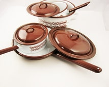 Heavy-duty, Enamelware Cook Set  - Made in Poland - Stock Pot, Skillet and Two Saucepans - White With Chocolate Brown Teardrops - Full Set