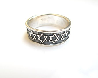 Sterling silver Star of David band ring Jewish symbol handmade solid 925 silver
