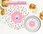 Personalized Birthday Plate, Melamine Kids Cake Plate and Bowl Set, Birthday Girl Dinnerware, Toddler Plate