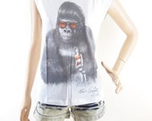 Monkey Shirt Monkey T Shirt Animal Tshirt  Monkey Tee Women Tshirt Women TShirt Screen Print Size S