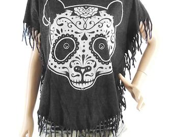 Panda T Shirt Panda Shirt Bear T Shirt Bat Sleeve Bleached Shirt Women Shirt Screen Print (Measurements - fits great from S - M)