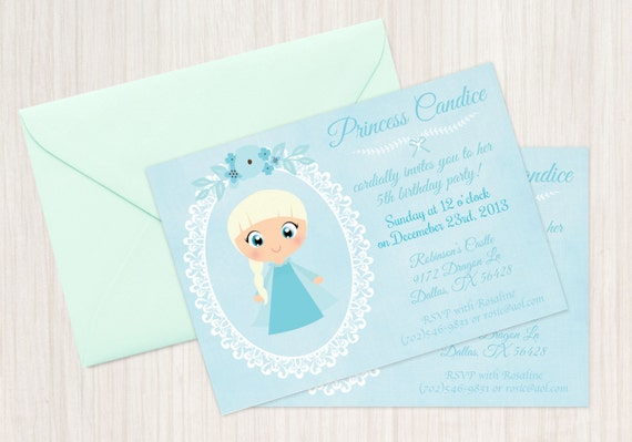 Frozen Princess Anna and Princess Elsa Customizable Birthday Invitations, Princess, Girl Birthday Invitations, Frozen Birthday, Printable