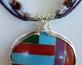 Lucite/Plastic Inlay and Glass Bead Necklace