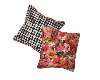 18x18 Pillow Vintage Floral Black and White Houndstooth