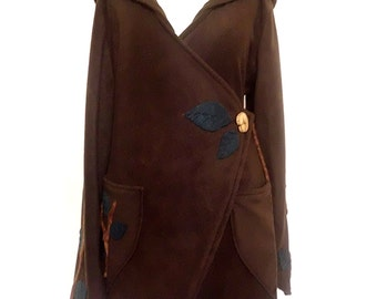 Made to Order Tree Branch Hooded Pixie bustle Fleece Wrap Jacket Coat