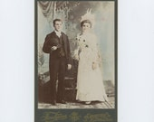Victorian Cabinet Photo, 1800s: Hand-Tinted Wedding Couple, Lowell, Mass [56372]