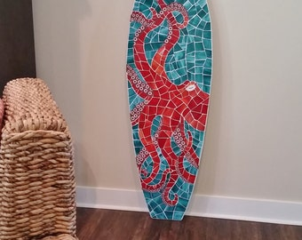 Octopus Mosaic Surfboard Wall Hanging, Beach House Art, Stained glass on wood, 5ft, Coastal art, Octopus Art, Sea Creature, Made to Order