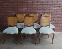 Cane Back Dining Chairs / French Provincial Dining Chairs / Pierre Deux Style / Chairs by Kindel