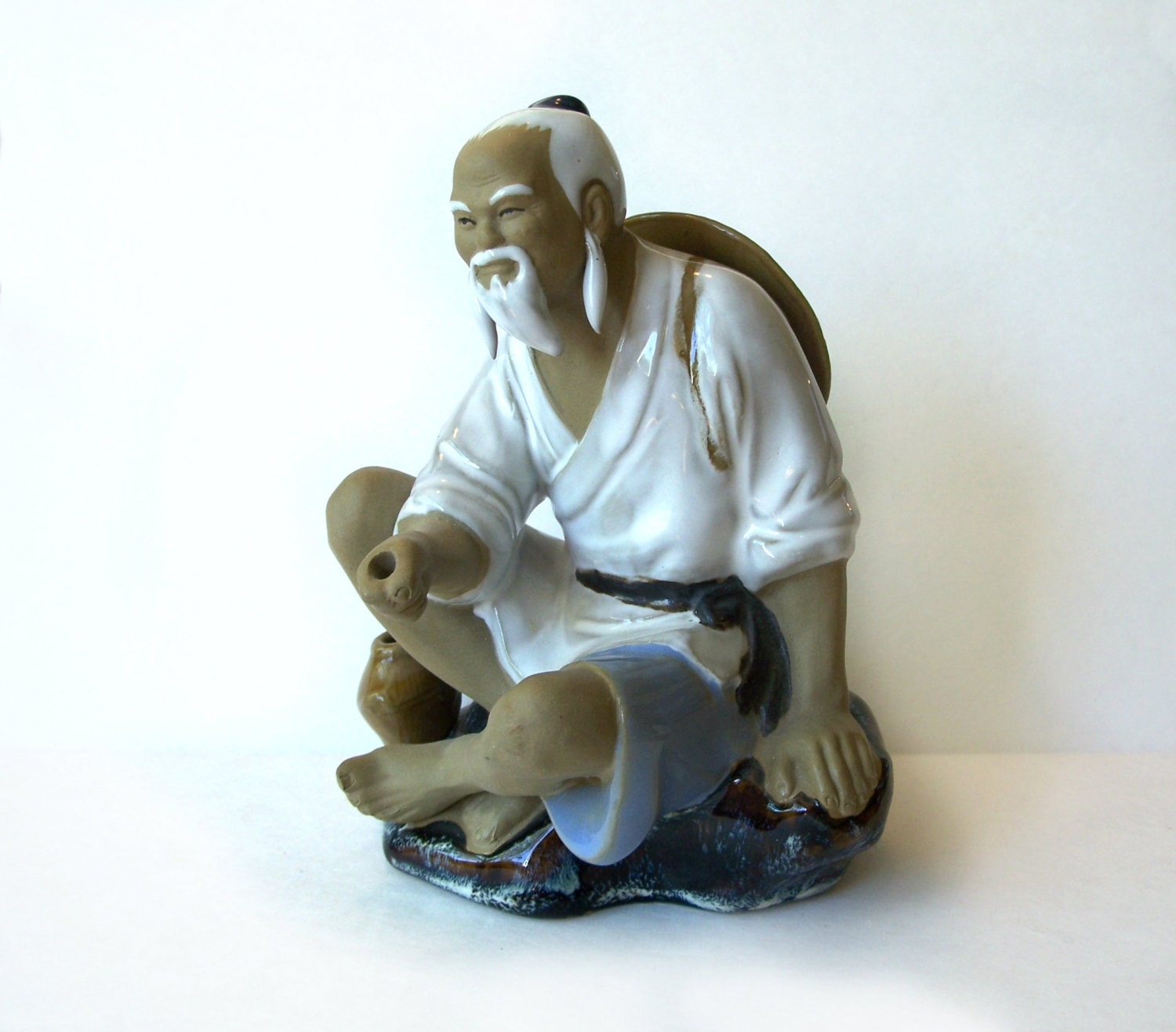 Unique Bookends Vintage Chinese Mud Man Fisherman Figurine Wanjiang China
