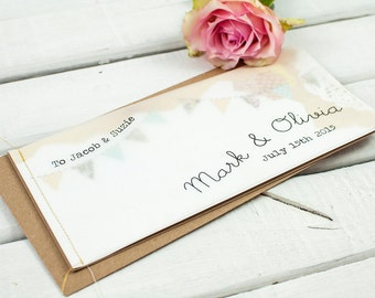 Country wedding invitation - stitched booklet - country bunting