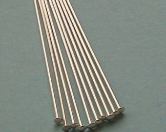 10 Pieces, Flat Head Pins, Sterling Silver .925, 22 Gauge, 1.5 Inches, SHP112