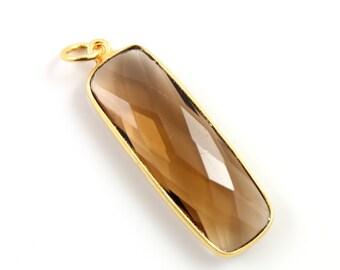 Natural Smokey Topaz Bezel Long Bar Pendant, Gold Vermeil , 12x31mm, 1 Piece, (BZC9051/STZ)