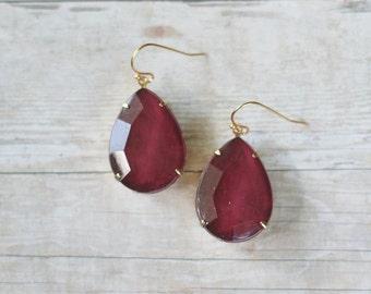 Wine Red Teardrop Earrings, Wine Red Statement Earrings, Large Teardrop Earrings