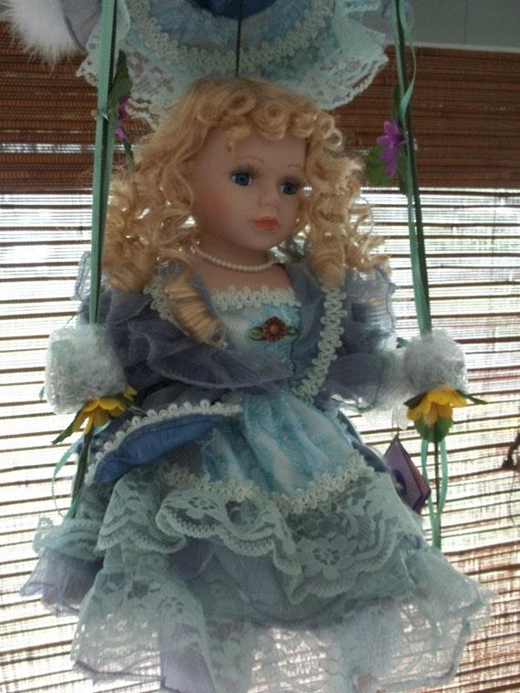 Porcelain Doll On Swing Girl S Room Decor Sunflowers