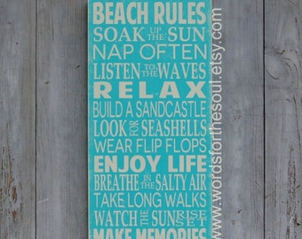 Beach Rules Sign Beach House Distressed Beach Sign Subway Typography Art  Wooden Sign Shabby Chic Beach