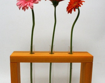Wooden Bud Vase Home Decor 3 Flowers / Home Decor / Wooden Vase / Yellow Vase