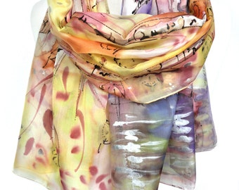 Hand Painted Scarf. Bridesmaid Gift. Woman Birthday Present. Wearable Art. Silk Painting Birch Trees Scarf Wedding Gift 18x71in. MADEtoORDER